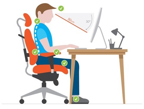 Correct monitor height can prevent neck strain