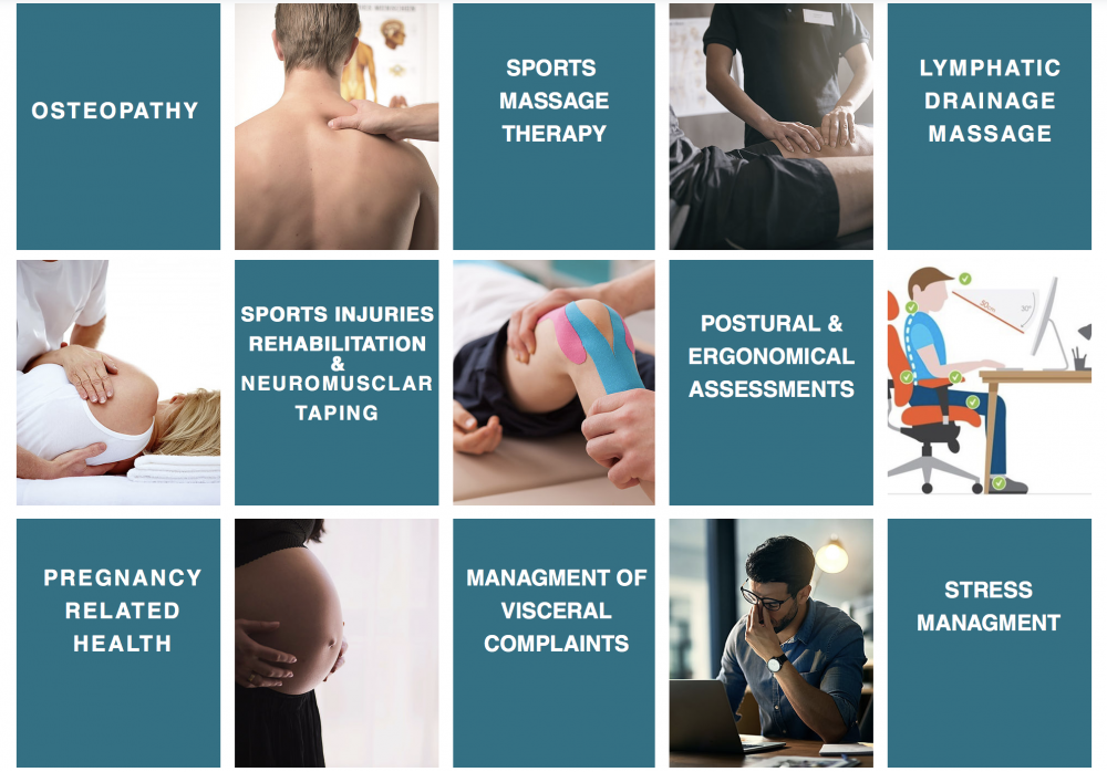 Treatments available from Hong Kong Osteopath Guglielmo Cenci