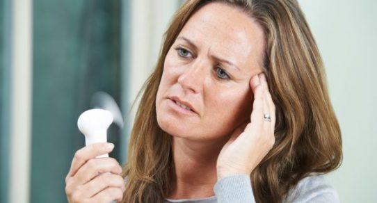 Menopause symptoms often include hot flashes